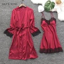 JULYS SONG Mode Frauen Faux Silk Robe Kleid Set Heißer Winter Sexy Spitze Nachthemden Frauen Nachtwäsche Kleid Frau Pyjamas Bademantel