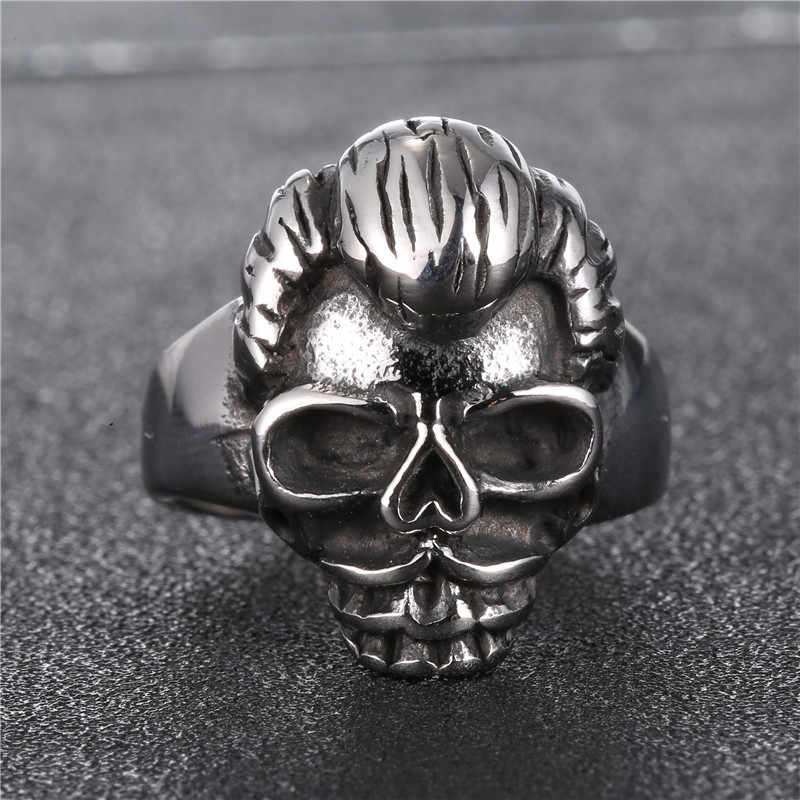 Johnny Hallyday vintage rock punk skull rings for men woman jewelry 316 stainless steel Hip Hop Cool Unique males Finger ring