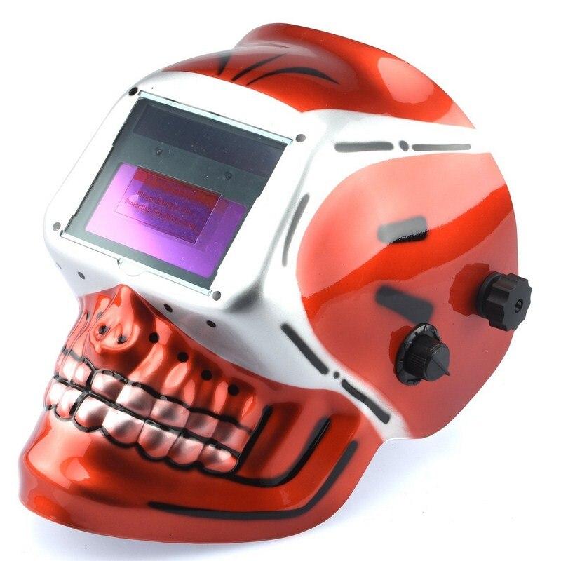 Welding Helmet Mask Big View Solar Battery Powered Auto-Darkening Rechargeable Battery Red Skeleton Design Welding Helmet