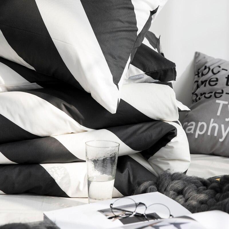 Schwarz und Weiß Blatt Diagonal Vertikale Streifen Plaid Bettwäsche Set Voll Königin Größe Baumwolle Bettbezug Flache Blätter oder Ausgestattet blätter - 5