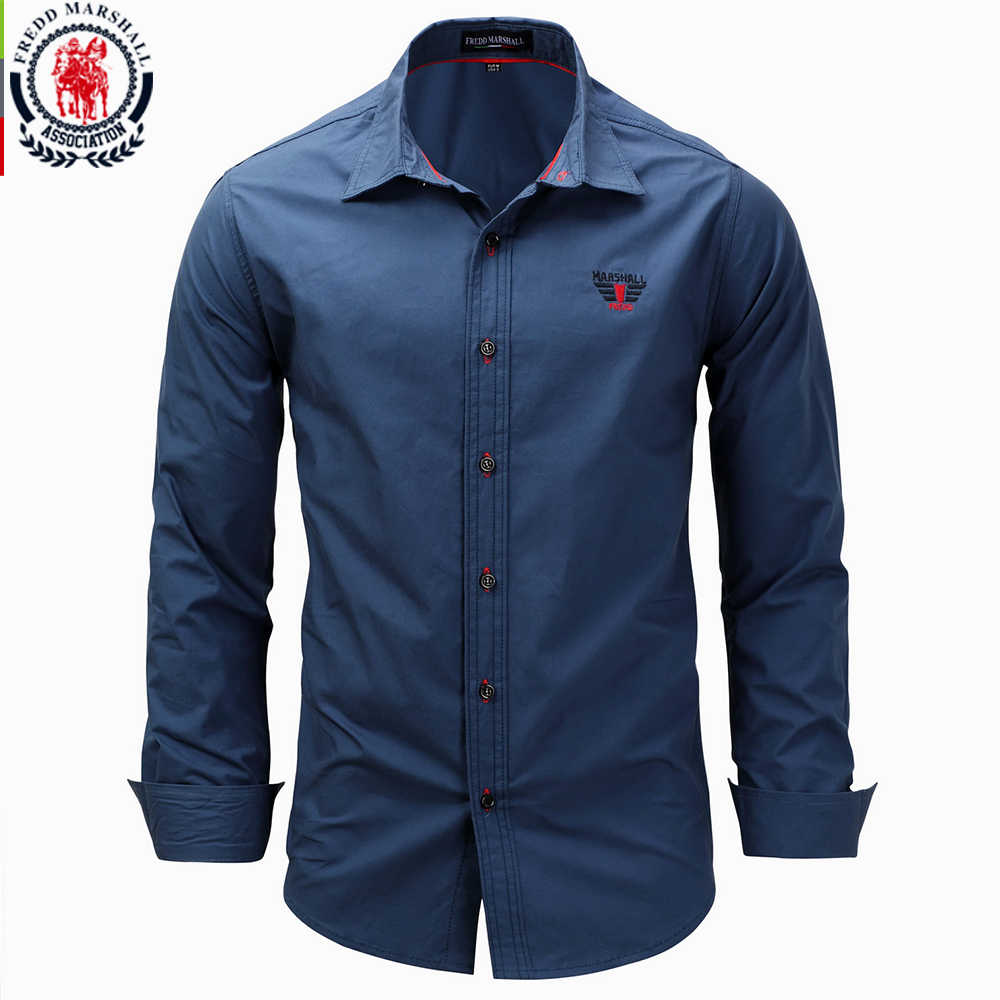 Fredd Marshall 2017 New Fashion Men's Long Sleeve Solid Color Embroidery Shirts Men Slim Fit Shirt Business Dress Shirts 3XL 118