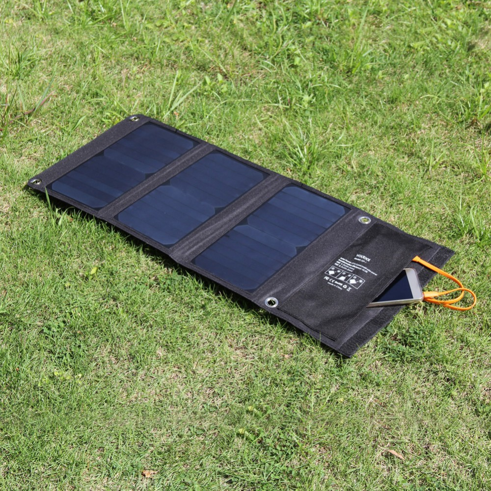 21W 2 MIC Ports Solar Charger Folding Solar Power Charge Bag USB 5V Output Solar Panel Battery Charger for Iphone for Samsung