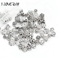 Free shipping  Mix Size Zinc Alloy Metal Silver Plated Flower Spacer Beads charm For DIY Jewelry Bracelet (70-80 pcs)