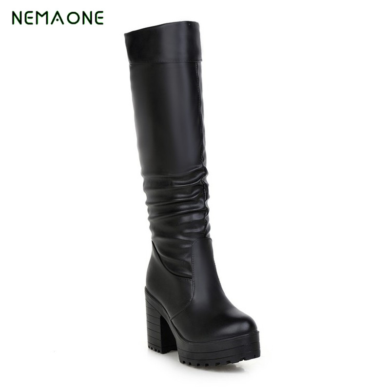NEMAONE Boots Sexy over the knee high 2017 women snow boots women's fashion winter thigh high boots shoes woman 2017 sexy thick bottom women s over the knee snow boots leather fashion ladies winter flats shoes woman thigh high long boots
