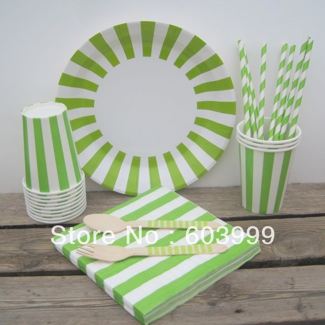 109 xTableware Set - Green Stripe Apple Green Party Paper Plates Cups Napkins Straws Large Wooden & 109 xTableware Set Green Stripe Apple Green Party Paper Plates Cups ...
