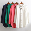 Plus size clothing 2016 spring embroidered turn-down collar long-sleeve medium-long fluid shirt