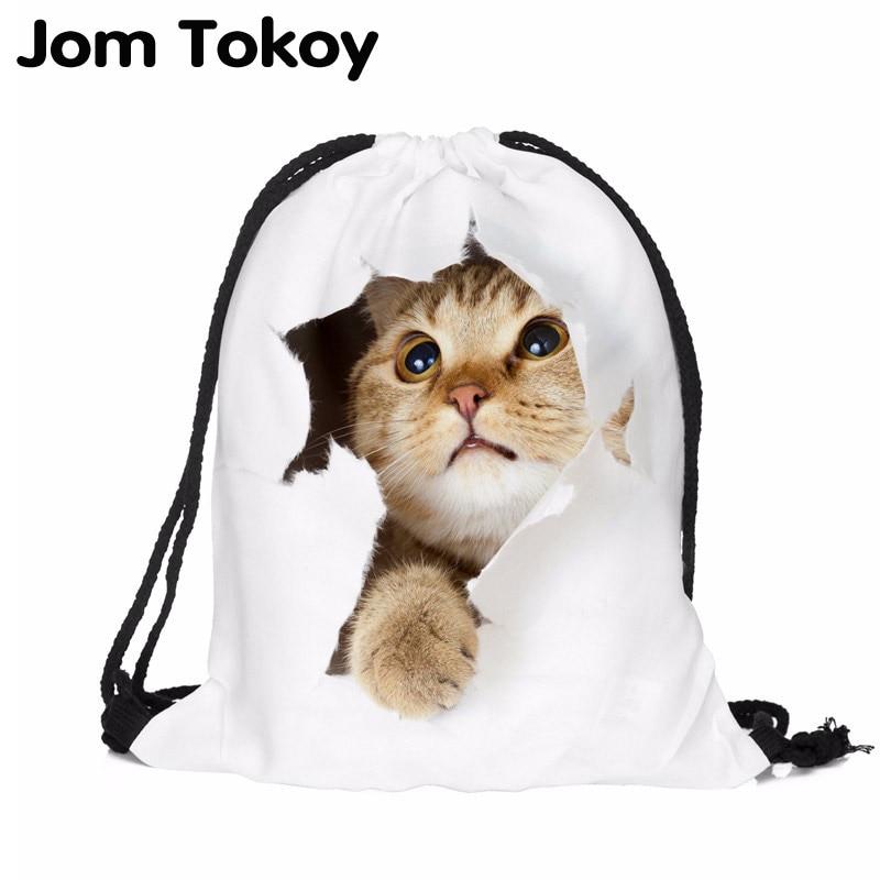 Cat Escape 3D Printing Women Classic Forever  Brand Mochila Escolar Man  Bags Travel Mochilas Backpack Drawstring Bag