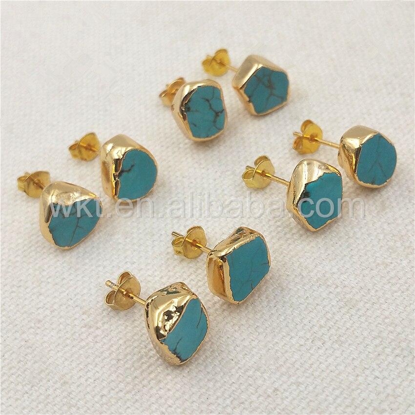 Joyas de tachuelas WT E265 auténticas de aullita con forma aleatoria, tachuelas de piedra de oro para hacer joyas de regalo para ella-in Pendientes de gotas from Joyería y accesorios    2