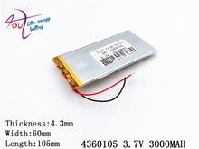 ลิตรพลังงานแบตเตอรี่แท็บเล็ต 4360105 3.7 V 3000 MAH 4060105 Universal Li   Ion battery สำหรับแท็บเล็ตพีซี 7 นิ้ว 8 นิ้ว 9 นิ้ว