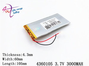 Image 1 - Liter energy battery The tablet 4360105 3.7V 3000MAH 4060105 Universal Li ion battery for tablet pc 7 inch 8 inch 9 inch