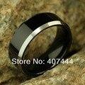Бесплатная Доставка ЮГК ЮВЕЛИРНЫЕ ИЗДЕЛИЯ Горячие Продажи 8 ММ Блестящий Черный Серебристый Края Два Тона мужская Мода Tungsten Carbide Ring