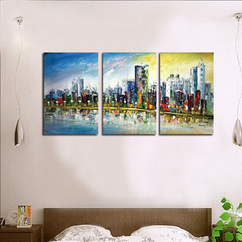 Modern fashion abstract oil  painting on canvas Hand painted   seaside city landscape paintings NO frame