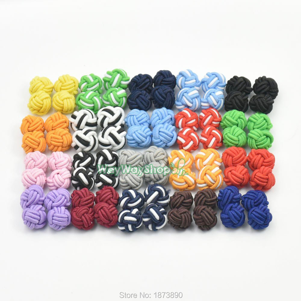Lot of 100 Pairs New Silk Knot Cufflink Cuff Link Blank Pad 20 colors to radom