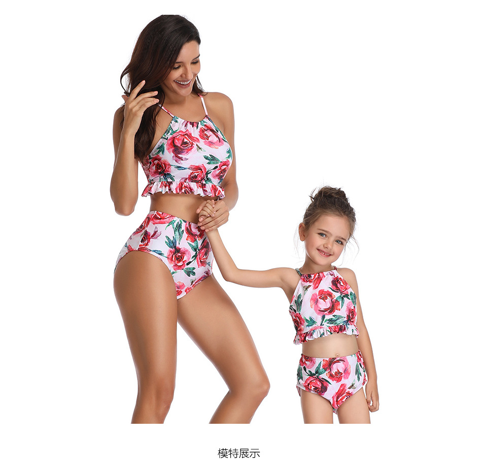 2019 Summer Family Matching Swimsuit Leaf Beach Women Girls Mom Kids Bathing Suit Two Pieces Swimwear Trip Swimsuit One Pieces