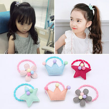 6 PCS/LOT-Children's Lovely Hair Crown Stars Modelling Rope Baby Girls Tire Hair Rope Mini Hair Bands Doesn't Hurt The Hair(China)
