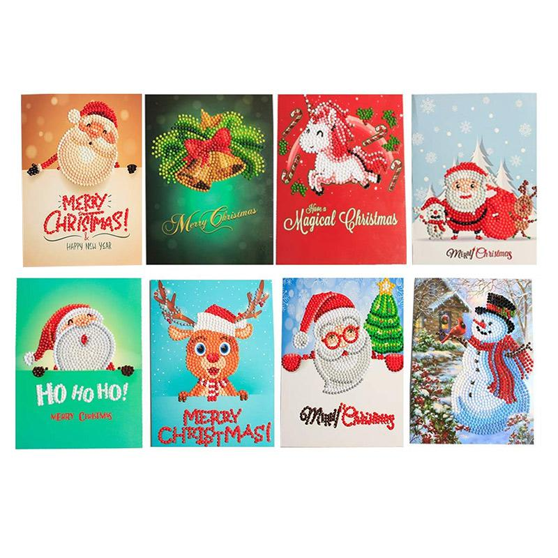 8Pack Christmas Cards 5D Diamond Painting Kits Embroidery Arts Craft DIY Kit Handmade Gifts Greeting Card with Envelope Creative Cards