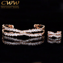 Ring-Set Bracelet Bangle Cz-Stone Cwwzircons Women T203 Trapezoid Rose-Gold-Color Adjustable-Size