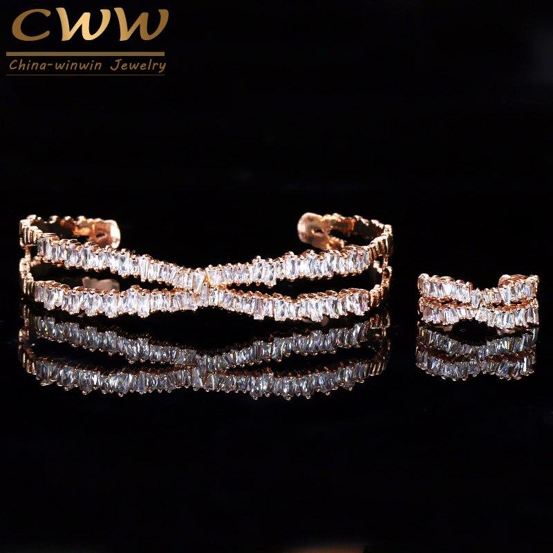 Cwwzircons tamanho ajustável rosa cor de ouro pulseira conjunto anel trapézio cz pedra marca moda conjuntos jóias femininas t203