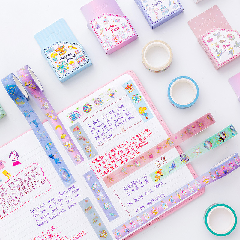 Cartoon World Unicorn Ocean Diamond Gilding Decorative Washi Tape Adhesive Tape DIY Scrapbooking Sticker Label Masking Tape