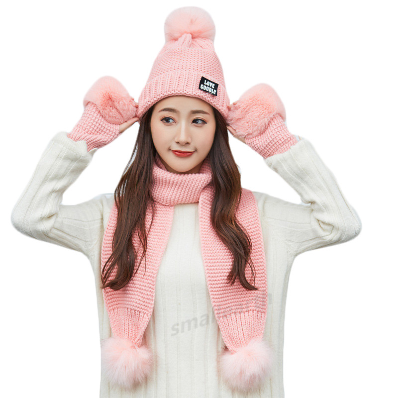 Female Winter Warm Hat Beanies Thick Infinity Scarf Hat Gloves Set Girls Warm 3 Pieces Sets Winter Caps Scarf Gloves For Women
