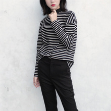 Women Turtleneck Korean Style T-Shirt Harajuku Casual Crop Top Long Sleeves Striped Tees Tops Hot Sale все цены