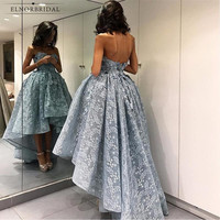 Silver Lace High Low Prom Dresses 2018 Sweetheart Galajurken Women Formal Evening Gowns Long Party Dress