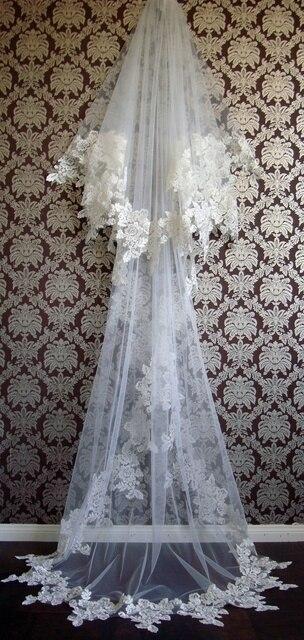 Hotsale Wedding Veil Ivory Lace Veu De Noiva  Meter Longo Voile Mariage  Bridal Veil