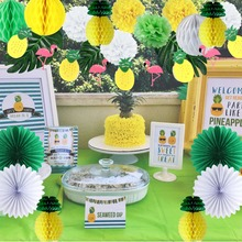 19pcs Pineapple Party Decoration Set Flamingo Garland Palm Leaf Honeycomb Tropical Birthday Jungle