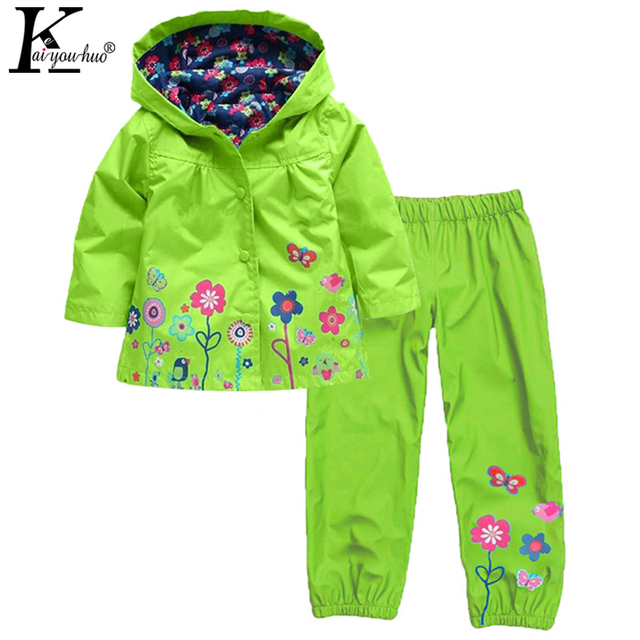 2017 Children Waterproof Suits Clothing Long Sleeve Girls Boys Clothes Set 2 3 4 5 6T Girls Raincoat Sport Suit Costume For Kids