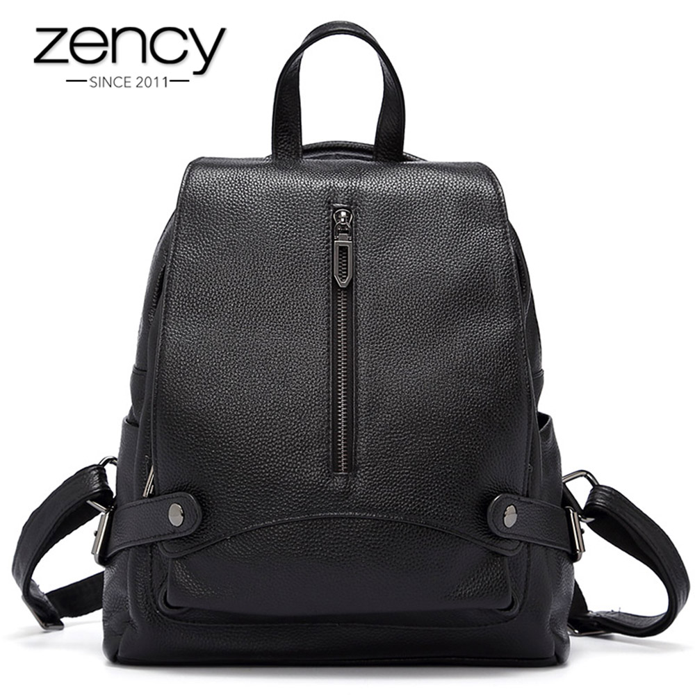 Zency 100% Genuine Leather Women Backpack Anti-theft Function Female Knapsack Large Capacity Daily Casual Travel Bags Black Zency 100% Genuine Leather Women Backpack Anti-theft Function Female Knapsack Large Capacity Daily Casual Travel Bags Black