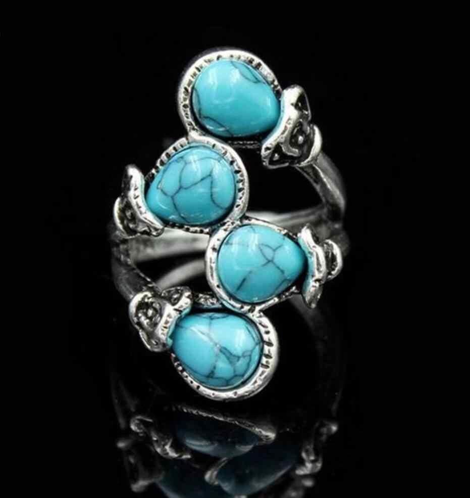 2 PC แฟชั่นย้อนยุคสี่โบราณ Turquoises แหวนโบฮีเมียแหวน