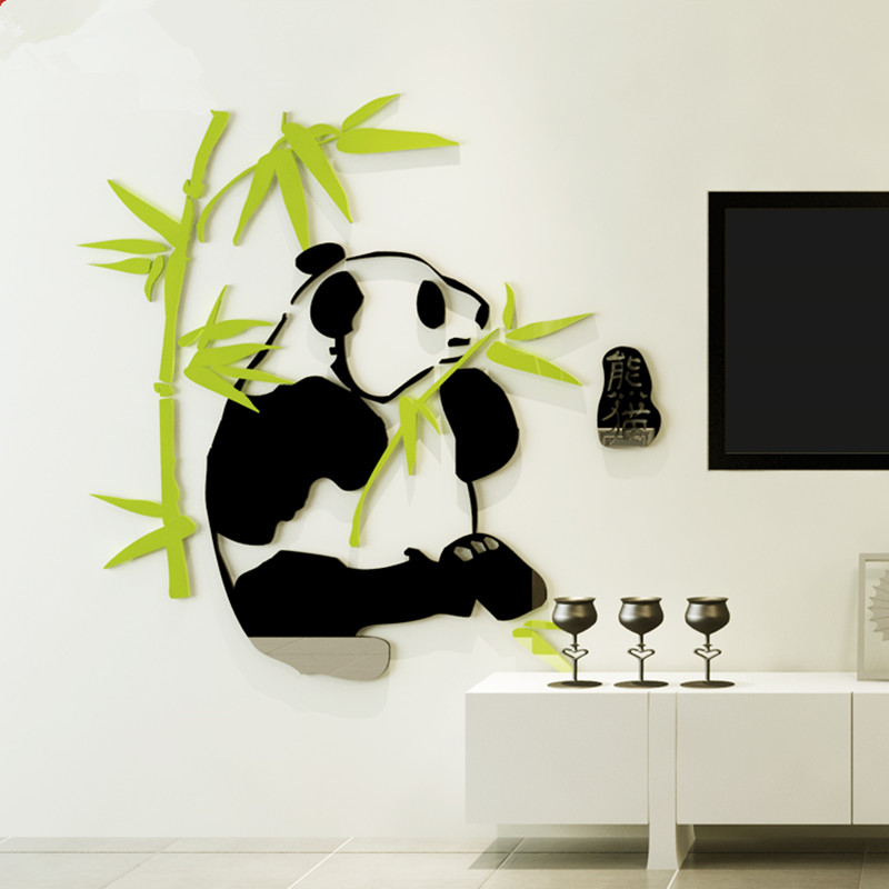 3D Acrylic Stereo Wall Sticker Living Room Sofa Background TV Wall Decoration Xuanguan Waistline Panda Bamboo(China)