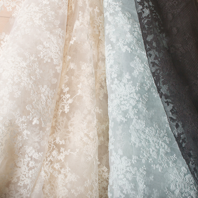 Width 130CM Organza Embroidery Jacquard Flower Tulle Fabric Mesh for Party  Stage Wedding Dress Skirts Home Decoration f7125de3af02