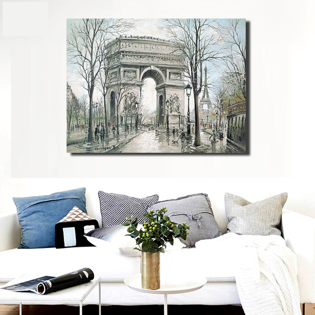 Abstract Paris Arc de Triomphe Wall Painting Canvas Europe City ...