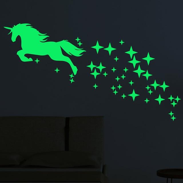 Autocollants lumineux, motif étoile, licorne cheval, dessin animé, étiquette fluorescente sculptée créative, décoration murale adorable, Festival de vacances