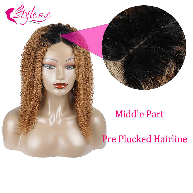 T1B/30 Koyu Sarışın Kıvırcık Dantel ön peruk Remy Brezilyalı Ombre Kinky kıvırcık insan saçı Dantel Kapatma Siyah Kadınlar Için Peruk Styleme