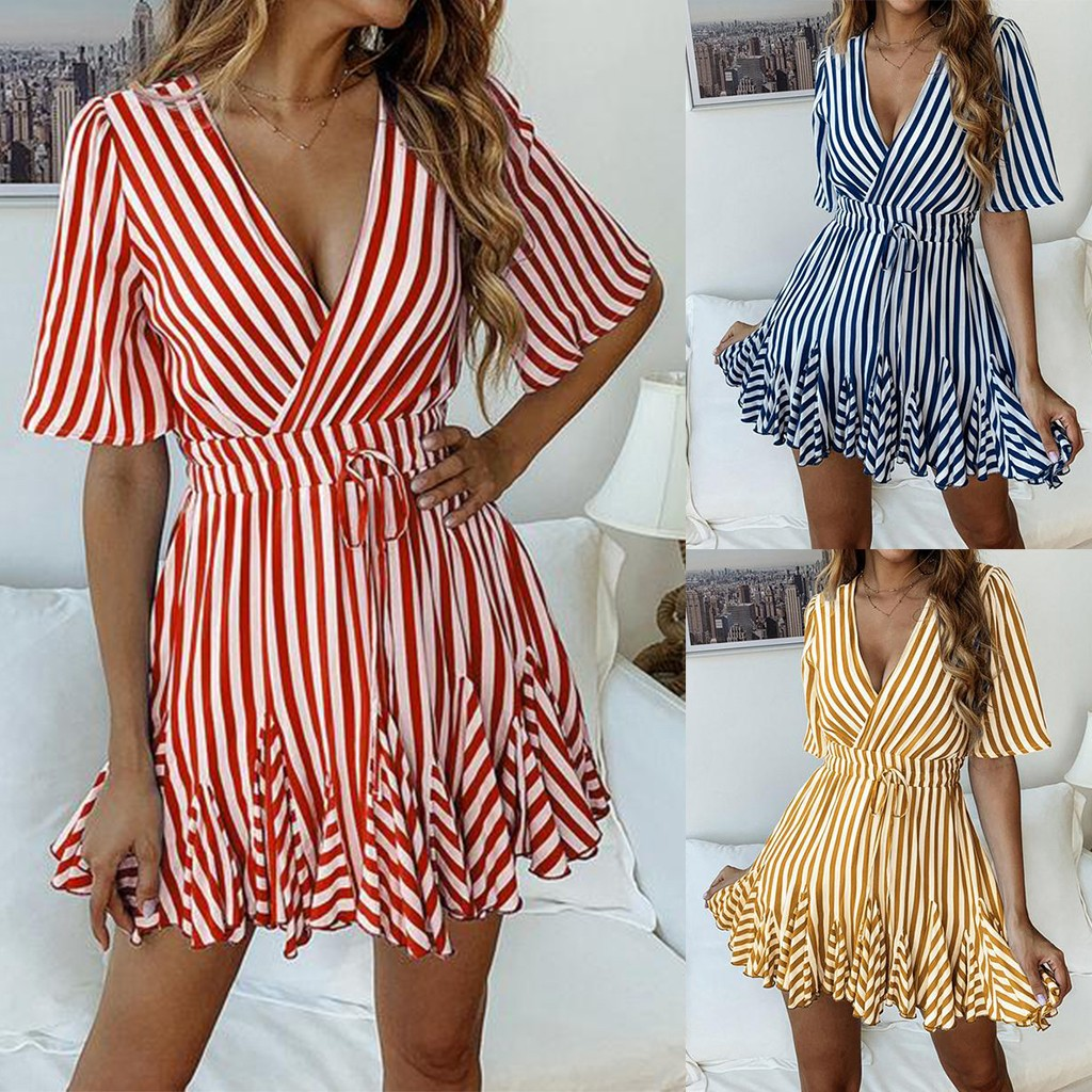 Spring and Summer Print summer clothes for women Striped Short Sleeves dress woman basic casual dress summer woman#G6