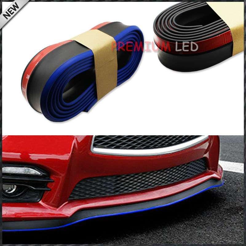 8ft Universal PU Carbon Fiber Front Bumper Lip Splitter Chin Spoiler Body Trim