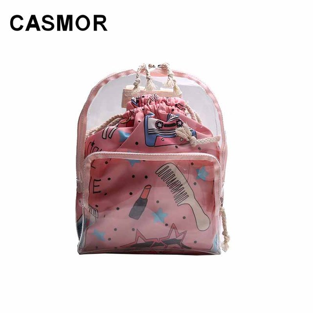 9bed99cb28 CASMOR Cute Girls Backpack Fashion Women Brand Transparent Clear Female  School bag for Teenagers Mini Composite Backpack Lady
