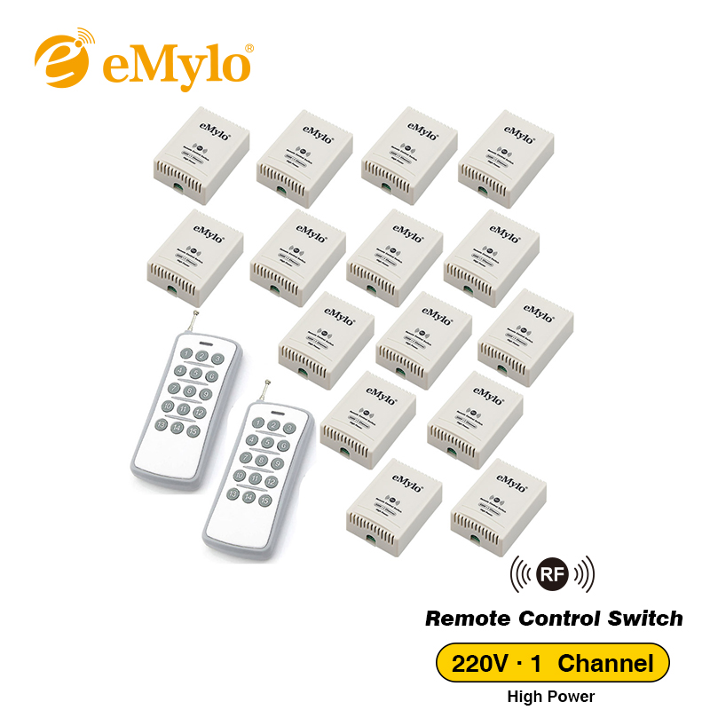 eMylo AC 220V 3000W 30A Transmitter 15X 1 Channel Relays Learning Smart Wireless Remote Control Switch White&Blue Transmitter
