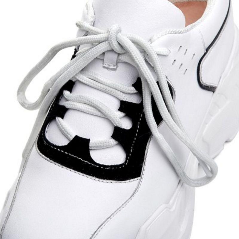 Blanco Tamaño De Zapatillas 2019 Cuero A Plataforma Casual 34 Zapatos Taoffen Mujer Deporte 39 Cuñas Real Vulcanizados Pie Bwc5fqZC