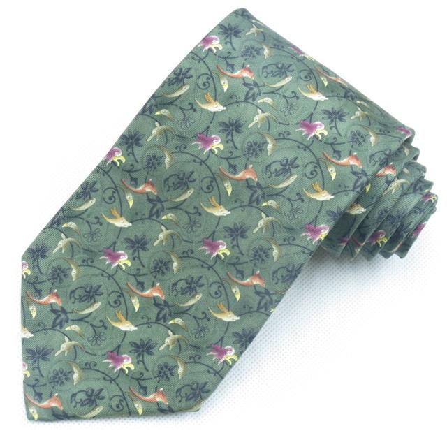 flowers and birds printed silk tie 9cm wide necktie for men navy