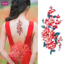b223a7a0c 1Pcs Flash Henna Tattoo ,Fake Temporary Tattoos Stickers Rose Peony Flowers  Arm Shoulder Tattoo Waterproof