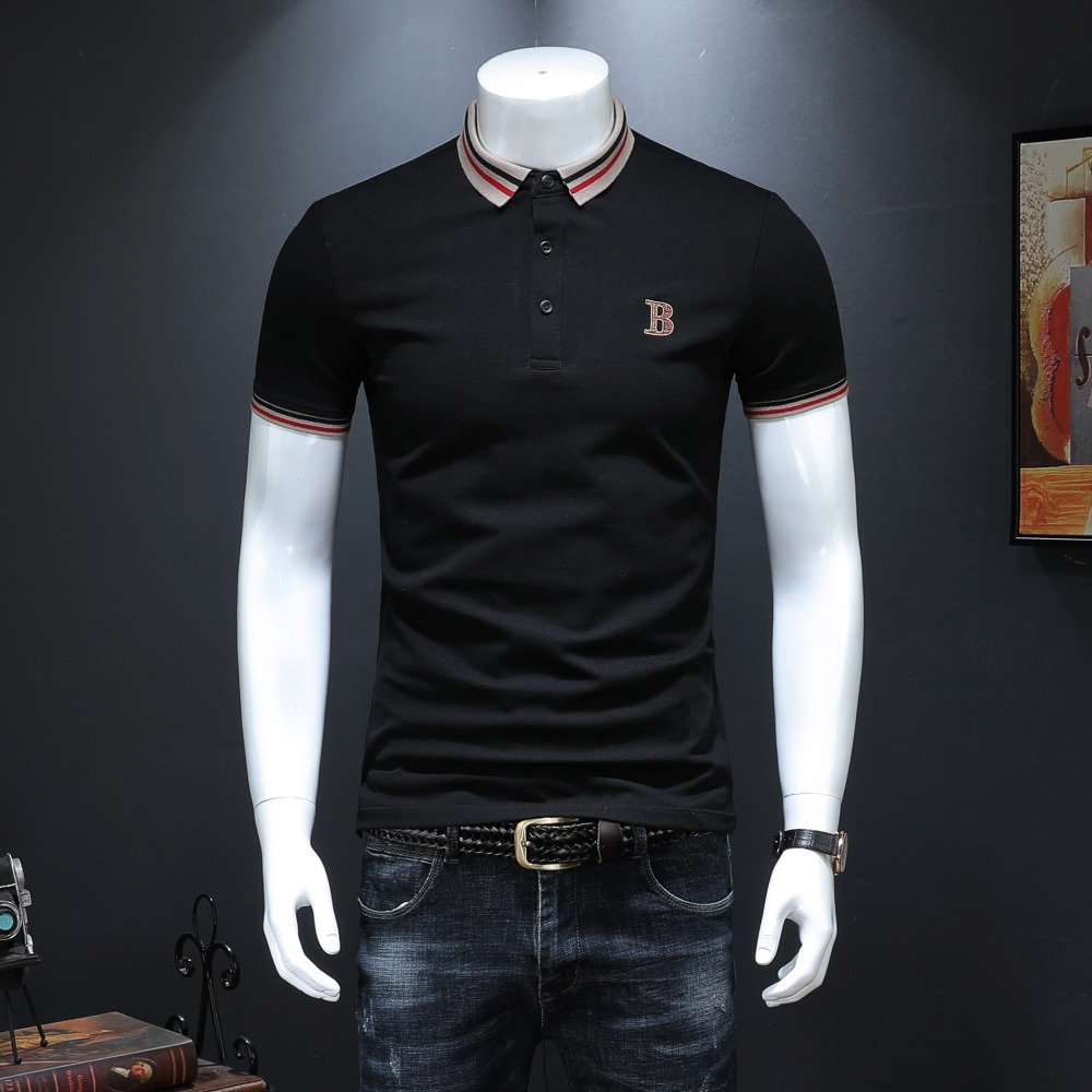 Fashion England Style Men   Polos   2019 Summer New Arrivals Classic Solid Short Sleeve US   Polo   Shirt for Men 4XL Black White 19971
