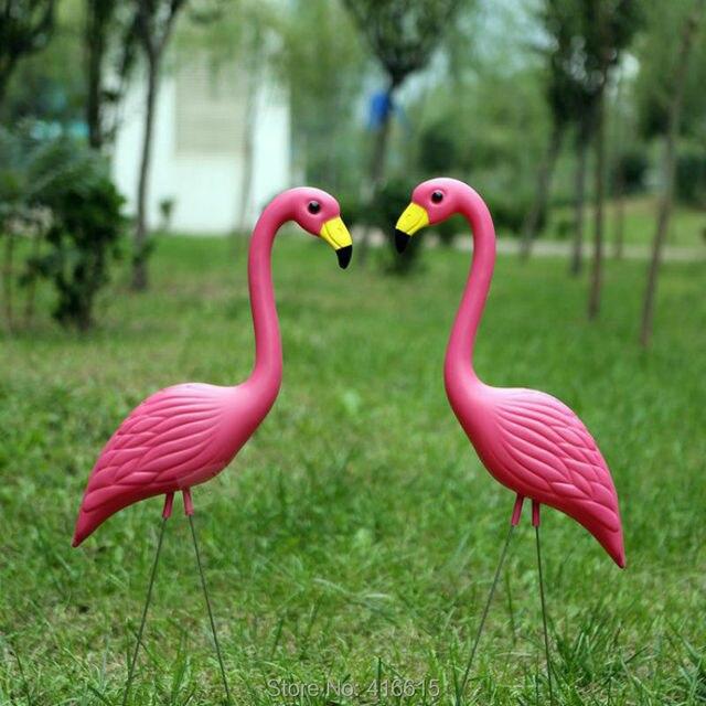 2pcs Plastic Pink Simulation Flamingo Garden Yard And Lawn Bird Art Ornament Decoration Ceremony