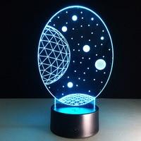 El universo planeta 7 Color Usb ilusión 3D noche luz LED lámpara de mesa para la decoración casera con el interruptor del tacto a distancia regalo de Navidad