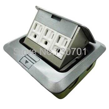 Silver color three USA/Mexico/Canada/Japan standard power floor socket aluminum material grounding socket