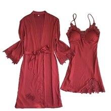 Дизайн Весна Лето женский роскошный халат и платье наборы элегантная вышитая Подвеска+ банный халат 2 шт наборы мягкая одежда для сна