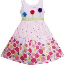 70b948852 Sunny Fashion ملابس أطفال بنات غني بالألوان نقطة 3 زهرة أخضر حزام حفلة عيد  الميلاد الأطفال