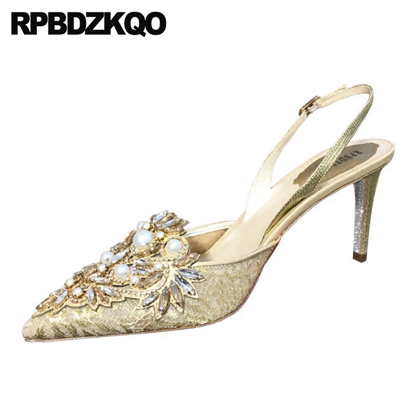 Mesh Pumps Lace Pearl Crystal Jewel Bride Pointed Toe Stiletto Shoes Diamond Golden Ladies Rhinestone High Heels Gold Slingback цена